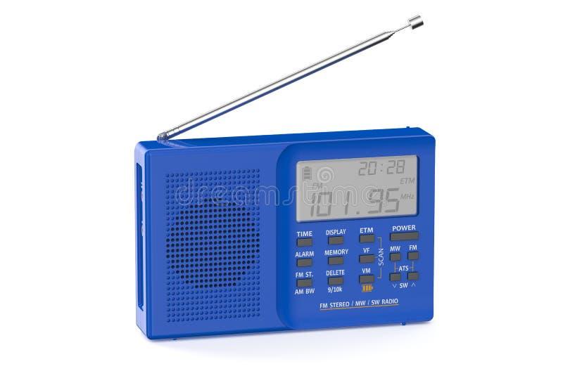蓝色数字式收音机 库存例证