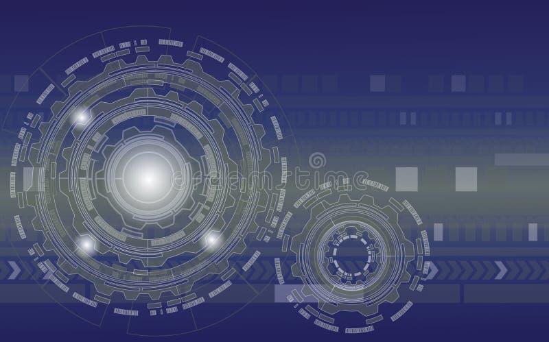 蓝色数字技术链轮和公鸡有背景,摘要钝齿轮工业机械背景机制- 向量例证