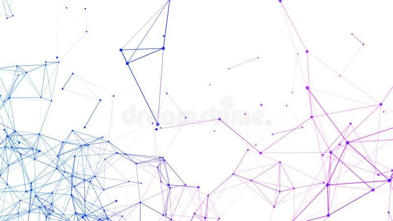 蓝色数字计算机数据和网络连接三角线和球形在未来派技术概念在白色背景 皇族释放例证