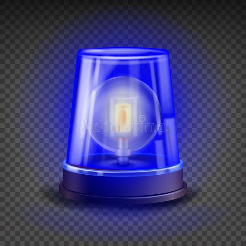 蓝色敷金属纸条警报器传染媒介 3d现实对象 光线影响 警车的救护车,消防车自转烽火台 向量例证