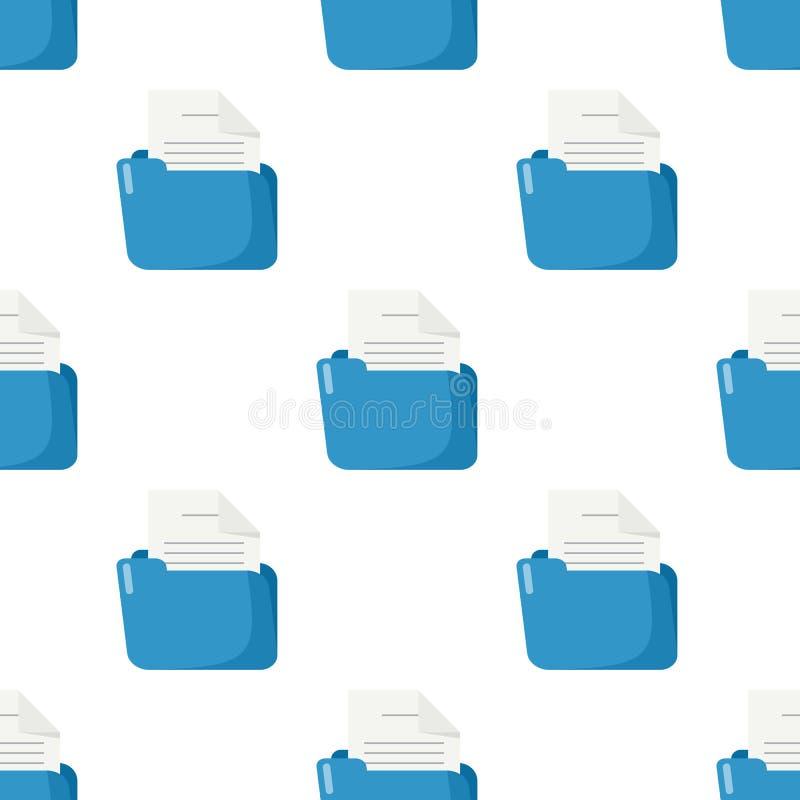 蓝色文件夹文件无缝的样式 向量例证