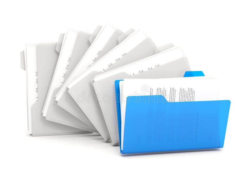 蓝色文件夹连续 库存例证