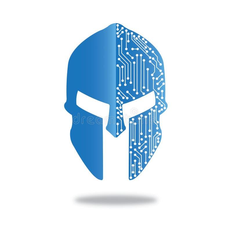 蓝色斯巴达盔甲安全数据 皇族释放例证