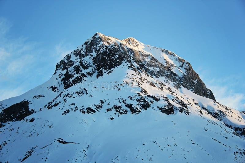 蓝色斯诺伊山峰 免版税库存照片