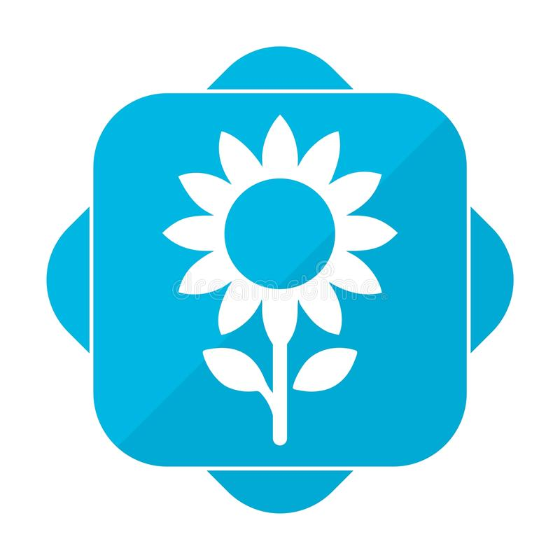 蓝色方形的象向日葵 向量例证