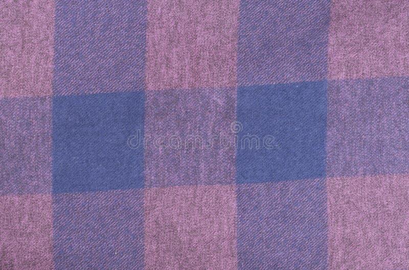 蓝色方格的织品特写镜头,桌布纹理 库存照片
