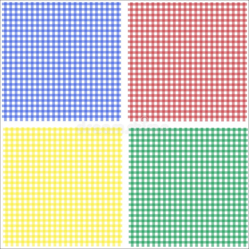 蓝色方格花布绿色红色黄色 皇族释放例证