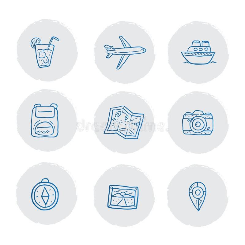 蓝色旅游图标包手绘 库存图片