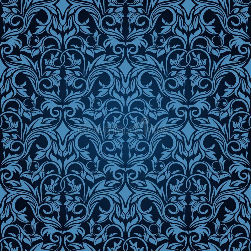 蓝色无缝的墙纸 向量例证