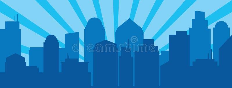 蓝色日出和现代剪影城市流行艺术样式的 库存例证