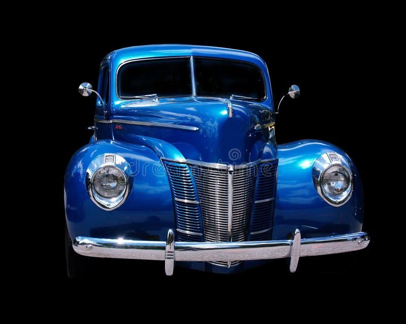 蓝色旧车改装的高速马力汽车 免版税库存图片