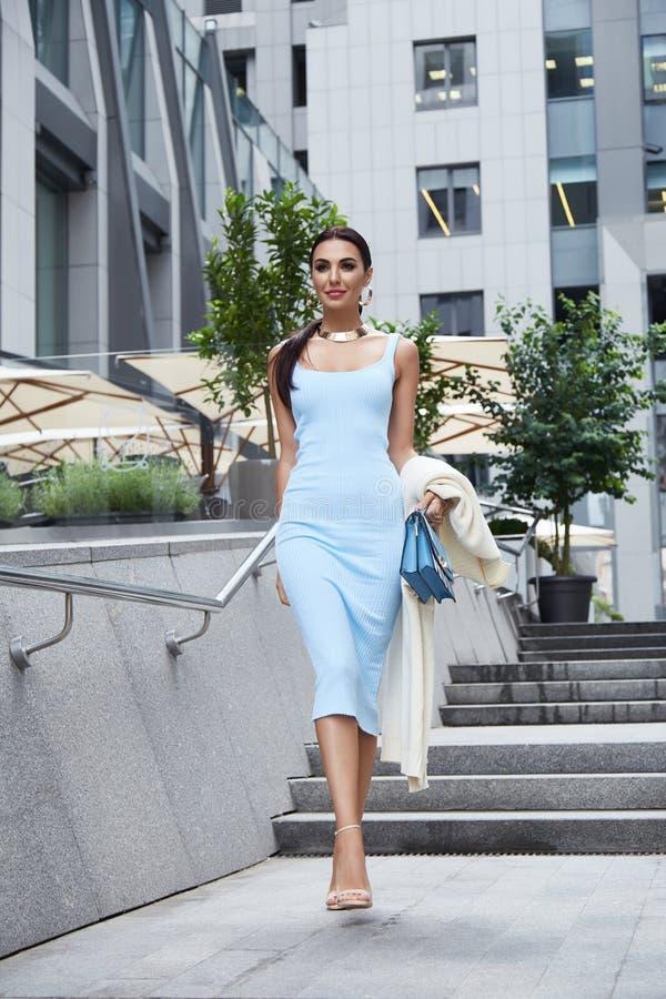 蓝色时尚样式礼服的性感的魅力妇女有提包的 库存图片
