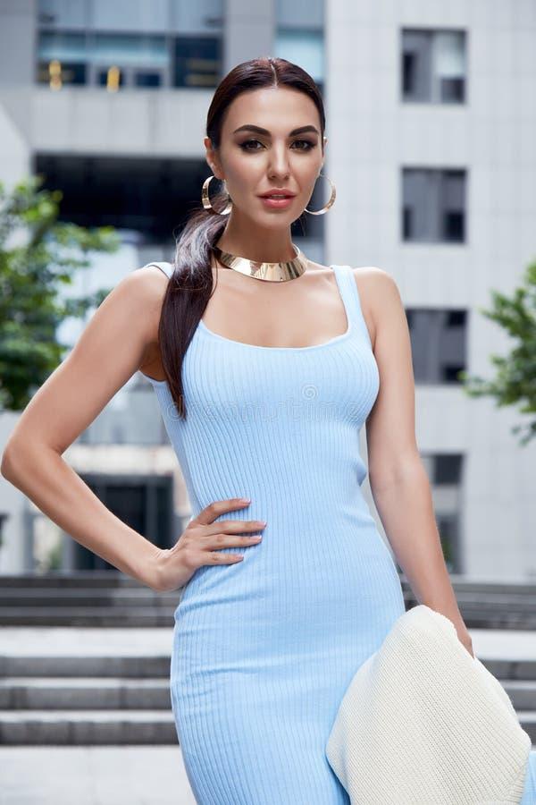 蓝色时尚样式礼服的性感的魅力妇女有提包的 库存照片