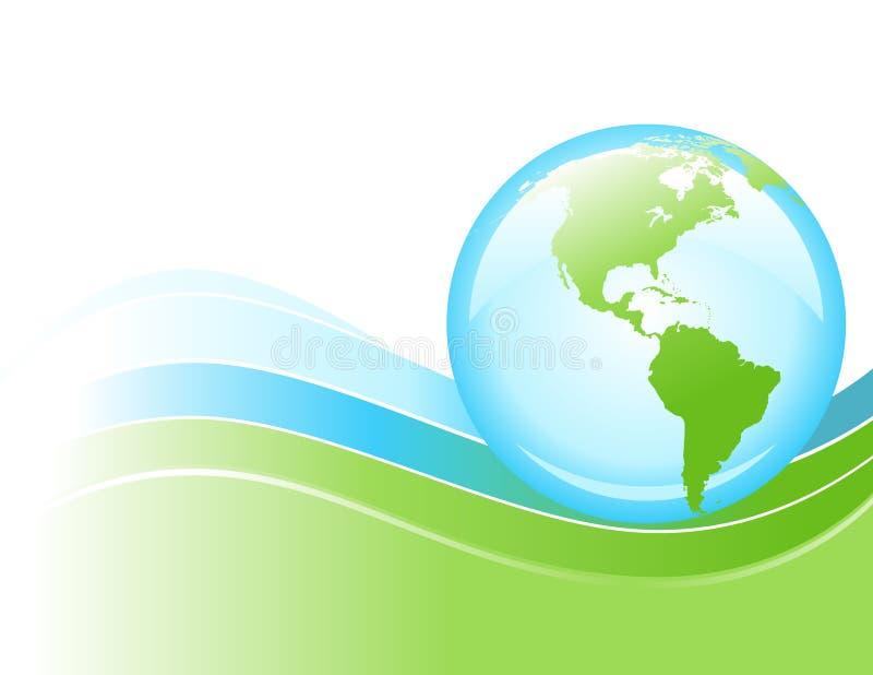 蓝色明亮的地球地球绿色波浪 皇族释放例证