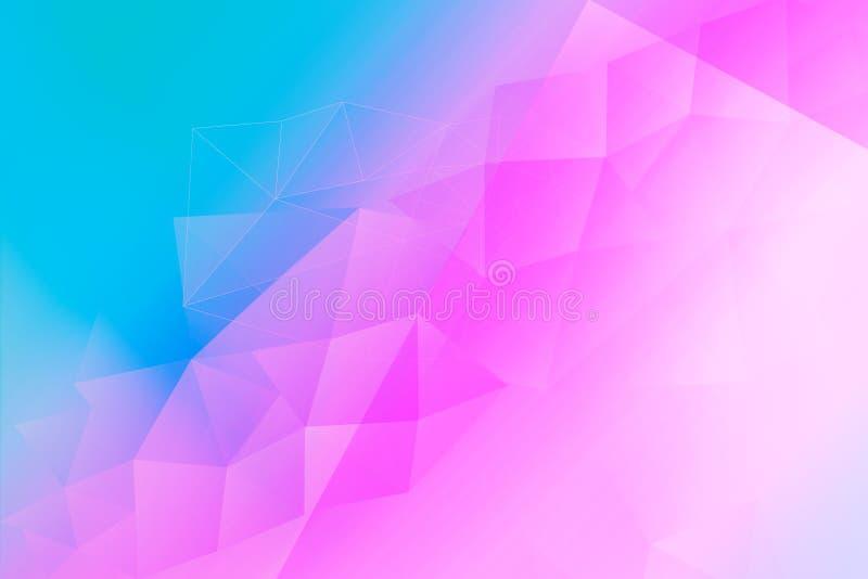 蓝色明亮的摘要的三角和桃红色背景 向量例证