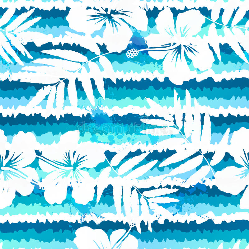蓝色明亮的无缝花和被绘的条纹 库存例证