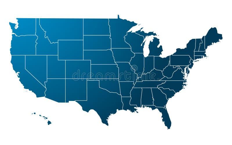 蓝色映射美国向量 皇族释放例证