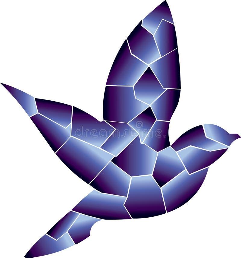 蓝色是鸟 她飞行 向量例证