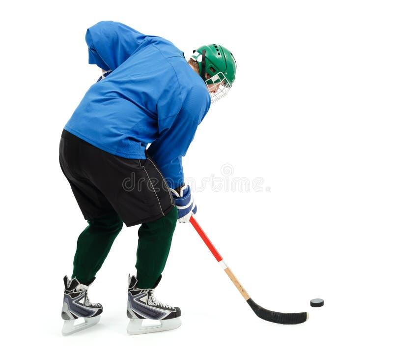 蓝色曲棍球冰球员 库存图片