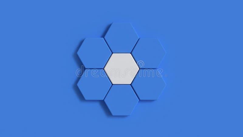 蓝色最小的背景六角度塑造圈子构成3d回报 库存例证