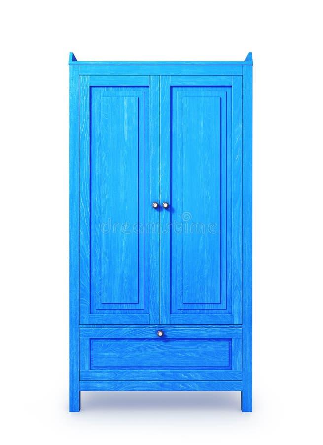 蓝色木内阁,隔绝在白色背景 皇族释放例证