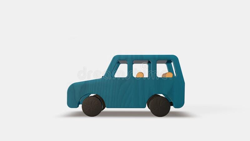 蓝色木汽车 向量例证