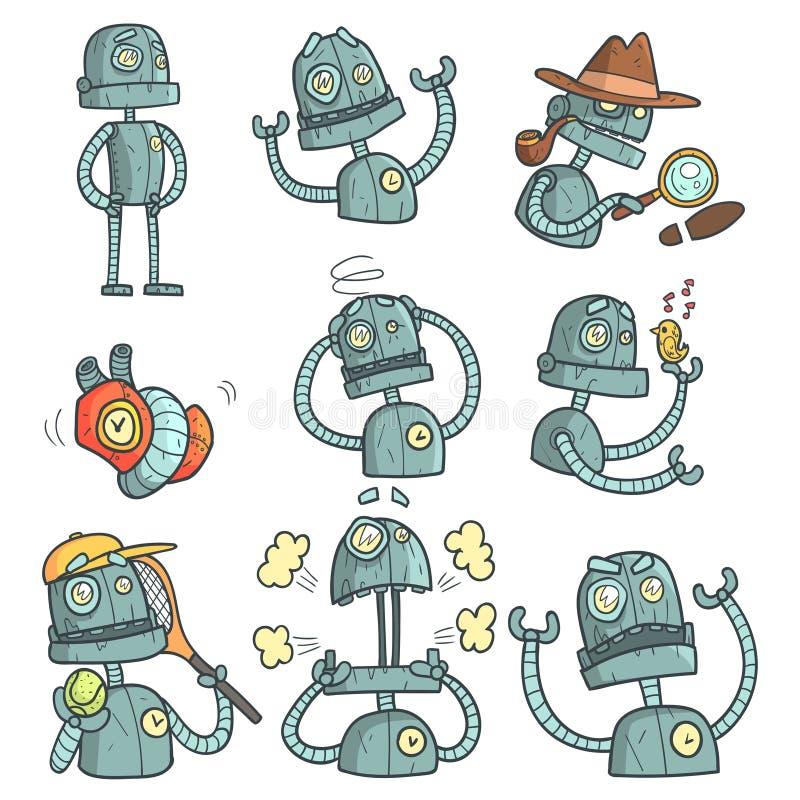 蓝色机器人套动画片概述画象 向量例证