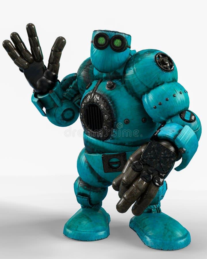 蓝色机器人球在白色背景中 向量例证