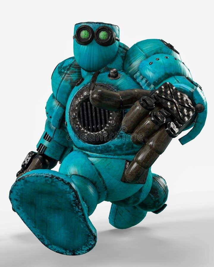 蓝色机器人球在白色背景中 库存例证