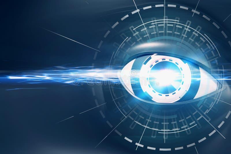 蓝色机器人眼睛和HUD接口 皇族释放例证
