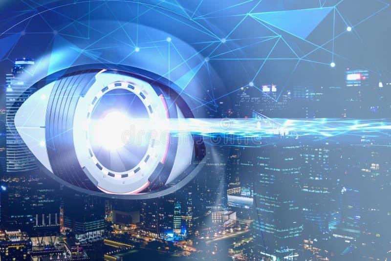 蓝色机器人眼睛扫描在夜城市 库存例证