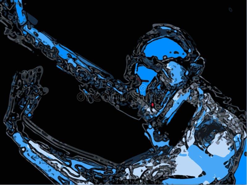 蓝色机器人超级英雄 免版税图库摄影
