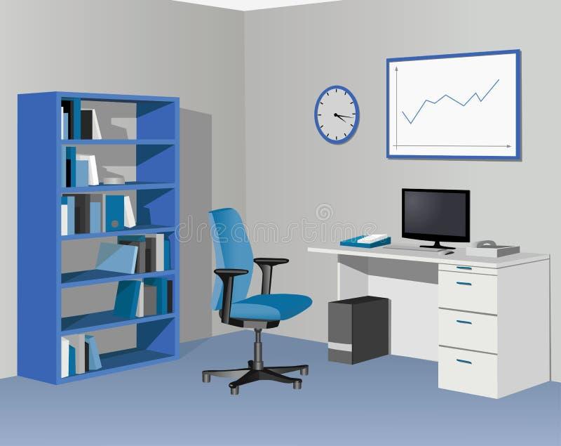 蓝色机柜办公室 向量例证
