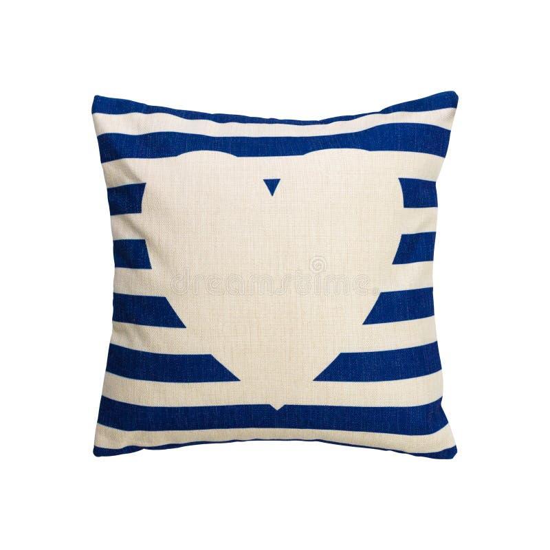 蓝色条纹设计在被隔绝的背景的枕头盖子与裁减路线 粗麻布装饰的纺织品纹理在您的床上 向量例证