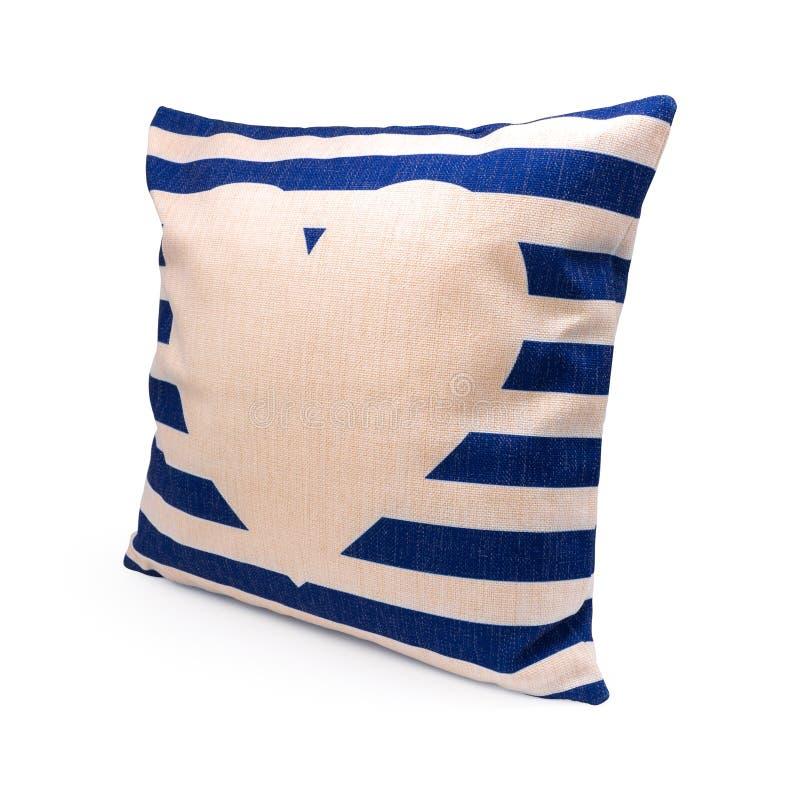 蓝色条纹设计在被隔绝的背景的枕头盖子与裁减路线 粗麻布装饰的纺织品纹理在您的床上 皇族释放例证