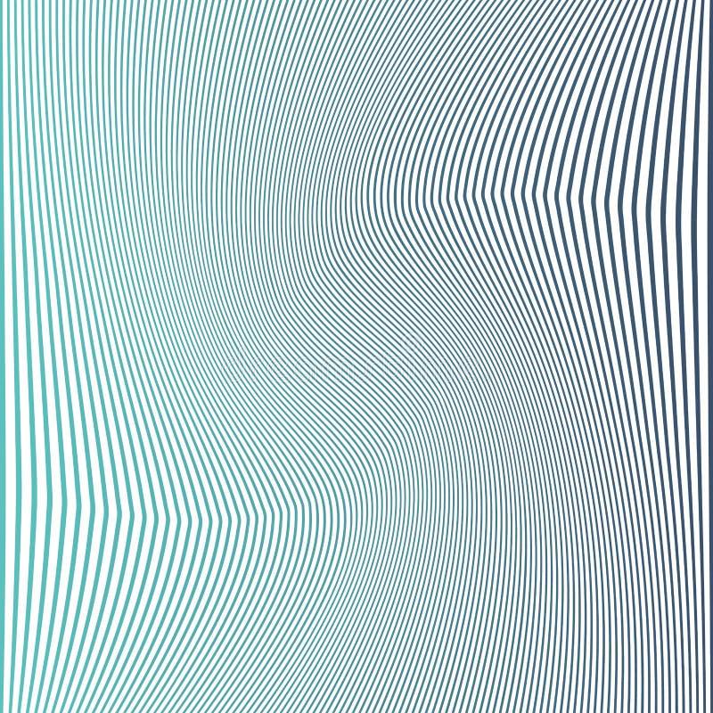 蓝色条纹 垂直的波浪弯曲的线 抽象背景 库存例证