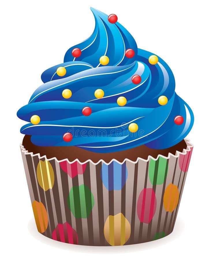 蓝色杯形蛋糕 向量例证