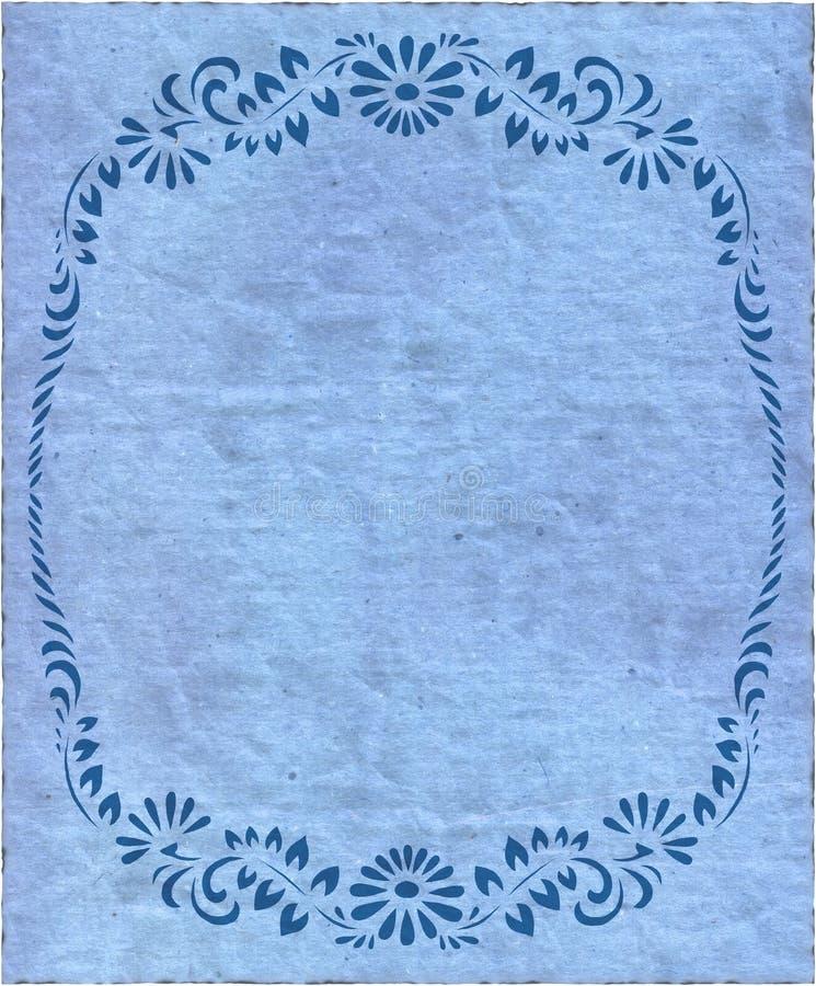 蓝色查出的老纸减速火箭的纹理葡萄酒 皇族释放例证