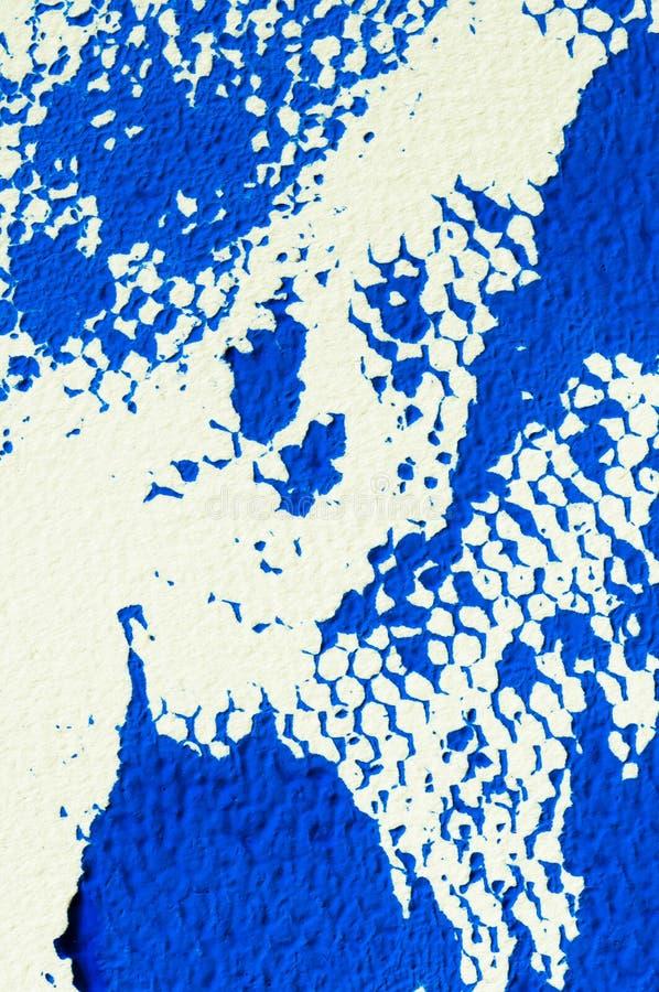 蓝色树胶水彩画颜料, printmaking的细节抽象纹理  免版税图库摄影