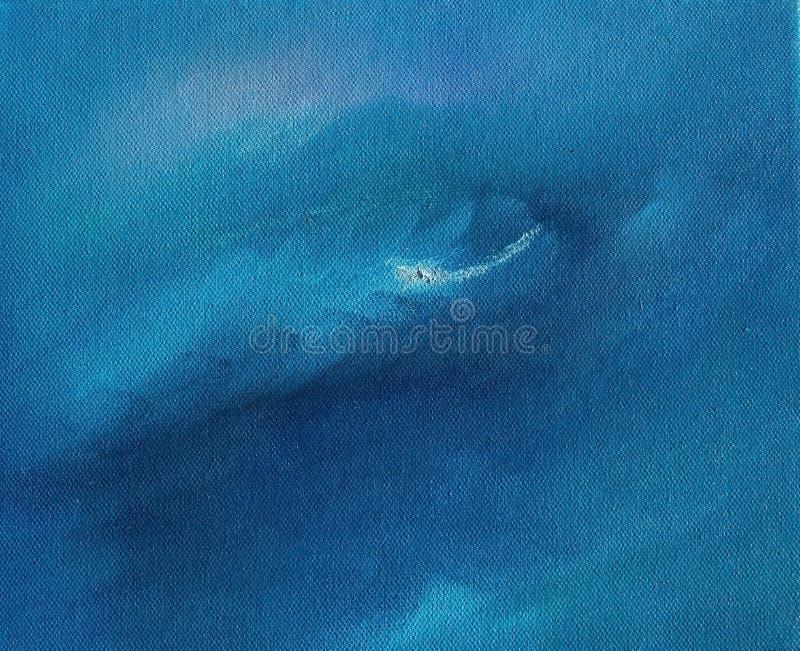 蓝色树荫天空和海洋摘要饱和的油漆纹理 免版税库存照片