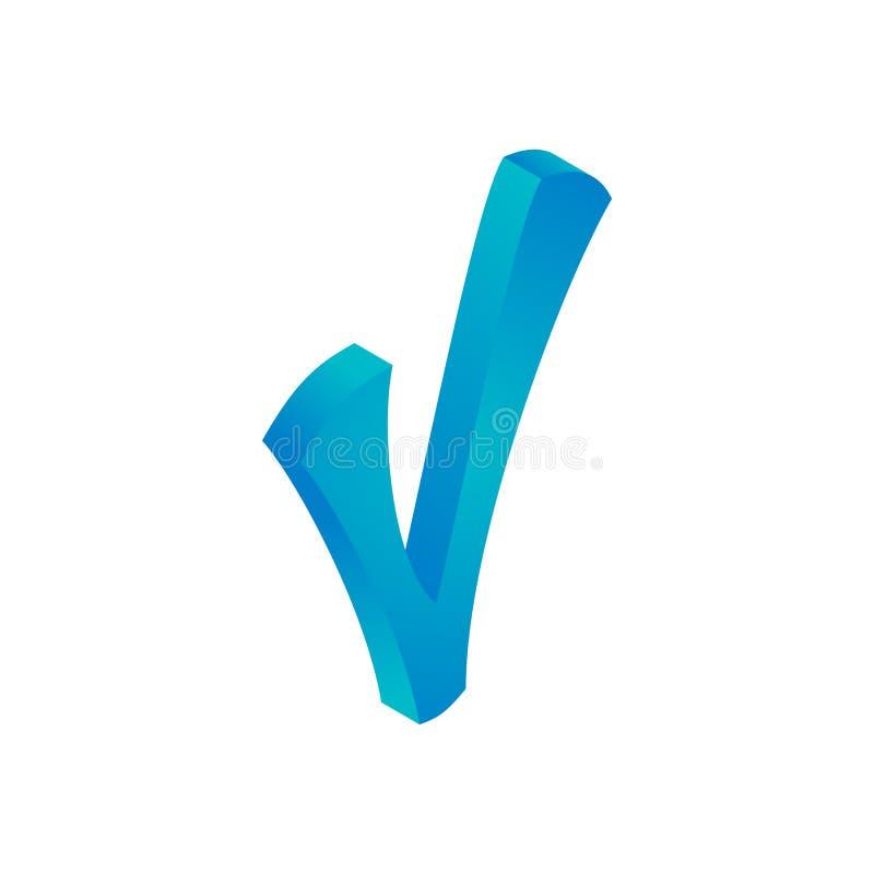 蓝色校验标志象,等量3d样式 库存例证