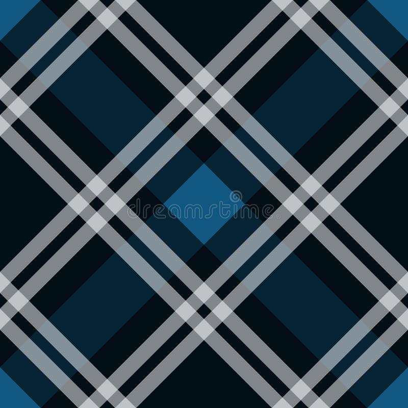 蓝色格子呢织品纹理对角样式无缝的传染媒介例证 库存例证