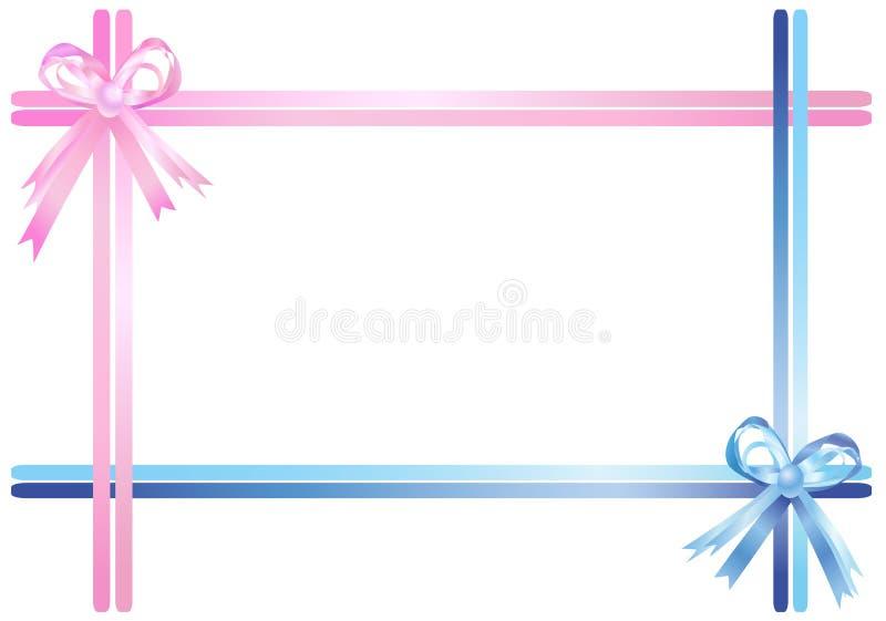 蓝色桃红色丝带 库存例证