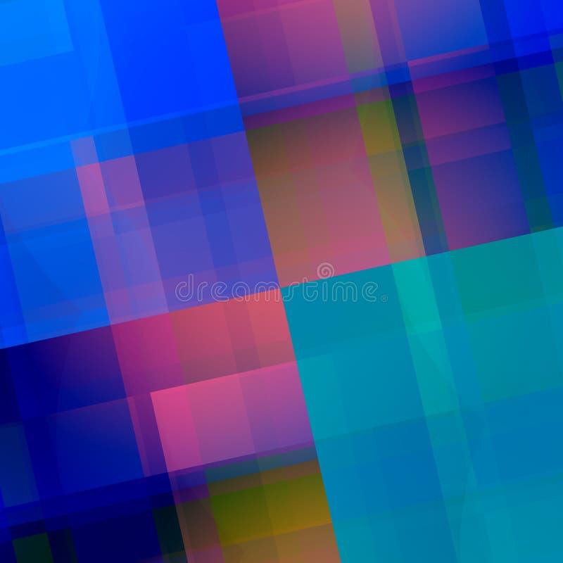 蓝色桃红色几何背景 抽象背景设计 与紫色颜色块的文雅艺术例证 创造性的墙纸 皇族释放例证