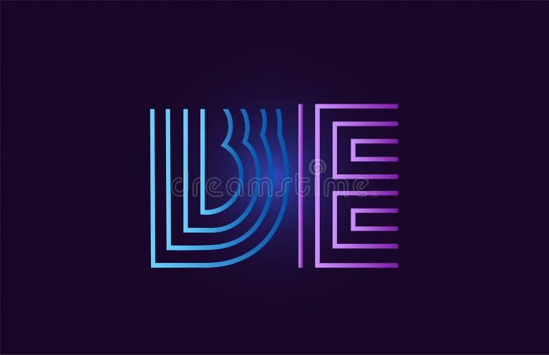 蓝色桃红色是b e梯度字母表字母组合商标象设计 库存例证