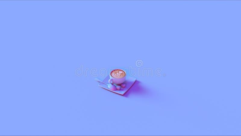 蓝色桃红色热奶咖啡 库存例证