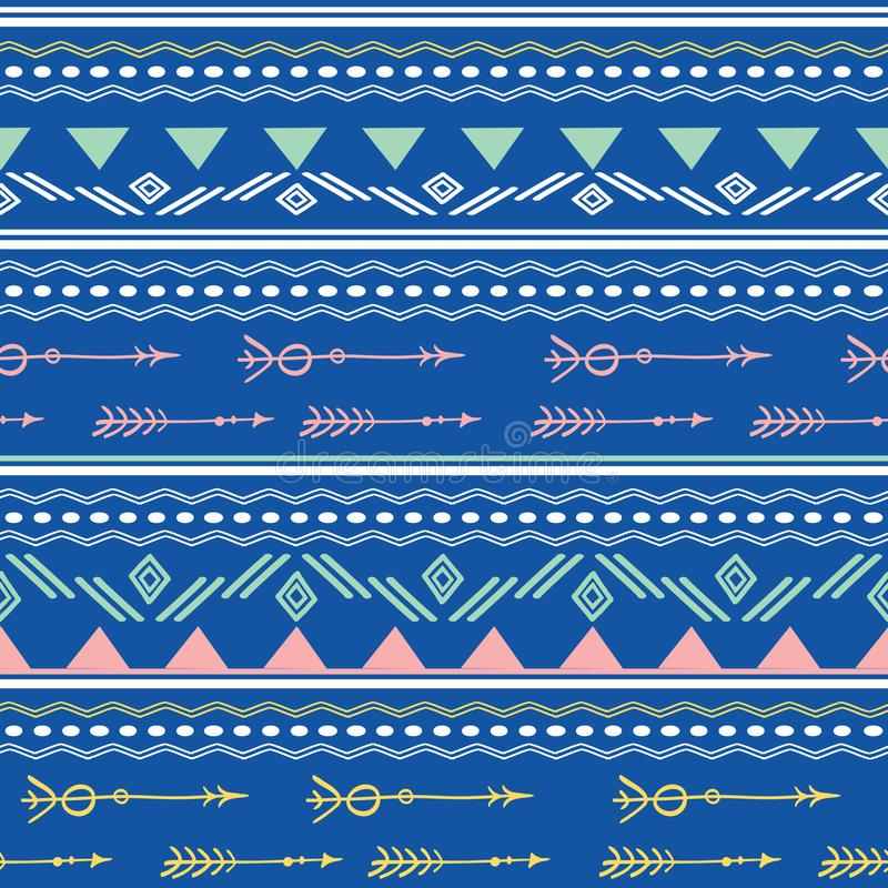 蓝色桃红色部族箭头无缝的样式 皇族释放例证