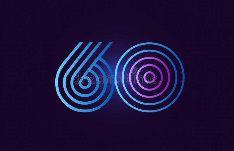 蓝色桃红色60个梯度数字商标象设计 库存例证
