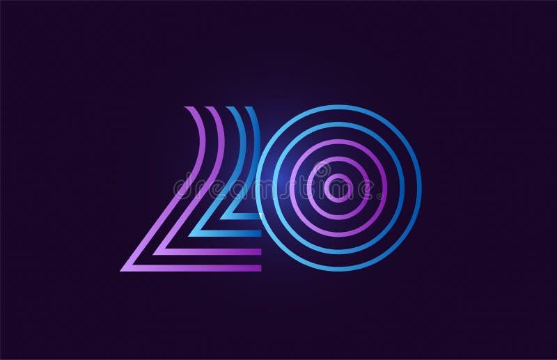 蓝色桃红色20个梯度数字商标象设计 向量例证