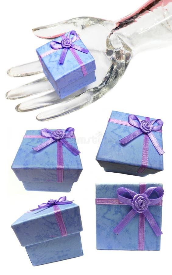 蓝色框收集显示礼品 库存图片